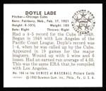 1950 Bowman Reprints #196  Doyle Lade  Back Thumbnail