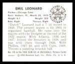 1950 Bowman Reprints #170  Dutch Leonard  Back Thumbnail