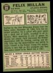 1967 Topps #89  Felix Millan  Back Thumbnail
