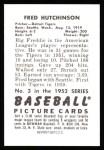 1952 Bowman Reprints #3  Fred Hutchinson  Back Thumbnail