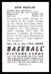 1952 Bowman Reprints #18  Don Mueller  Back Thumbnail