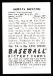 1952 Bowman Reprints #59  Murry Dickson  Back Thumbnail