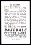 1952 Bowman Reprints #113  Al Zarilla  Back Thumbnail