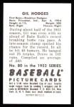 1952 Bowman Reprints #80  Gil Hodges  Back Thumbnail