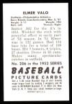1952 Bowman Reprints #206  Elmer Valo  Back Thumbnail