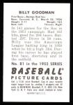 1952 Bowman Reprints #81  Billy Goodman  Back Thumbnail