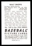 1952 Bowman Reprints #169  Walt Dropo  Back Thumbnail