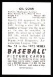 1952 Bowman Reprints #51  Gil Coan  Back Thumbnail