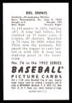 1952 Bowman Reprints #76  Del Ennis  Back Thumbnail