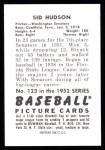 1952 Bowman Reprints #123  Sid Hudson  Back Thumbnail