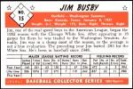 1953 Bowman Reprints #15  Jim Busby  Back Thumbnail