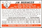 1953 Bowman Reprints #136  Jim Brideweser  Back Thumbnail