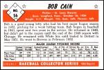 1953 Bowman Reprints #56  Bob Cain  Back Thumbnail