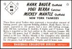 1953 Bowman Reprints #44  Mickey Mantle / Yogi Berra / Hank Bauer  Back Thumbnail