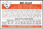 1953 Bowman Reprints #114  Bob Feller  Back Thumbnail