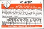 1953 Bowman Reprints #2  Vic Wertz  Back Thumbnail