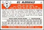 1953 Bowman Reprints #63  Gil McDougald  Back Thumbnail