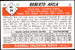 1953 Bowman Reprints #29  Bobby Avila  Back Thumbnail