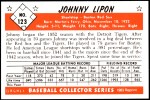1953 Bowman Reprints #123  John Lipon  Back Thumbnail