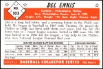 1953 Bowman Reprints #103  Del Ennis  Back Thumbnail