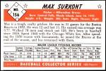 1953 Bowman Reprints #156  Max Surkont  Back Thumbnail