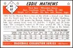 1953 Bowman Reprints #97  Eddie Mathews  Back Thumbnail