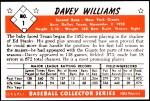 1953 Bowman Reprints #1  Davey Williams  Back Thumbnail
