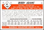 1953 Bowman Reprints #108  Bobby Adams  Back Thumbnail