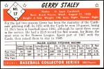 1953 Bowman Reprints #17  Gerry Staley  Back Thumbnail