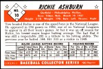 1953 Bowman Reprints #10  Richie Ashburn  Back Thumbnail