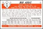 1953 Bowman Reprints #94  Bob Addis  Back Thumbnail