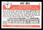 1953 Bowman Black and White Reprints #1  Gus Bell  Back Thumbnail