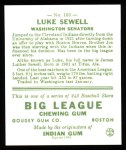 1933 Goudey Reprints #163  Luke Sewell  Back Thumbnail