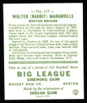 1933 Goudey Reprints #117  Rabbit Maranville  Back Thumbnail