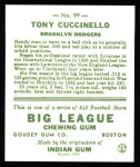 1933 Goudey Reprints #99  Tony Cuccinello  Back Thumbnail