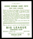 1933 Goudey Reprints #53  Babe Ruth  Back Thumbnail