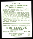 1933 Goudey Reprints #13  Lafayette Thompson  Back Thumbnail