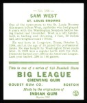 1933 Goudey Reprints #166  Sammy West  Back Thumbnail
