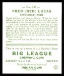 1933 Goudey Reprints #137  Red Lucas  Back Thumbnail
