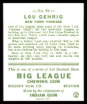 1933 Goudey Reprints #92  Lou Gehrig  Back Thumbnail