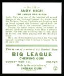 1933 Goudey Reprints #182  Andy High  Back Thumbnail