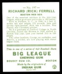 1933 Goudey Reprints #197  Rick Ferrell  Back Thumbnail