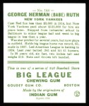 1933 Goudey Reprints #144  Babe Ruth  Back Thumbnail