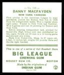 1933 Goudey Reprints #156  Danny MacFayden  Back Thumbnail