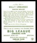 1933 Goudey Reprints #212  Billy Urbanski  Back Thumbnail