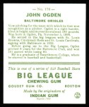 1933 Goudey Reprints #176  John Ogden  Back Thumbnail