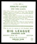 1933 Goudey Reprints #209  Dolf Luque  Back Thumbnail