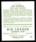 1933 Goudey Reprints #165  Joe Sewell  Back Thumbnail