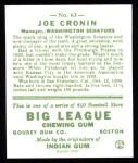 1933 Goudey Reprints #63  Joe Cronin  Back Thumbnail