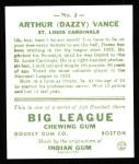1933 #2  Dazzy Vance  Back Thumbnail